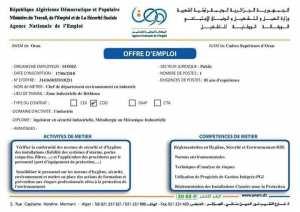 Alem Mecheria;Offre d'emploi