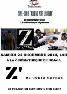 le ciné-club ALLONS VOIR UN FILM vous invite samedi 21 décembre 2019 à 14h00 à la projection du film Z de Costa GAVRAS