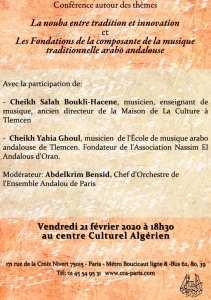 conférence exceptionnelle au centre culturel Algérien de Paris le vendredi 21 février 2020 à 18h30