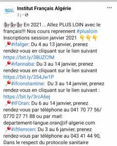 Cours Institut français en Algérie