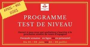Programme test de niveau: Avril - Mai 2021