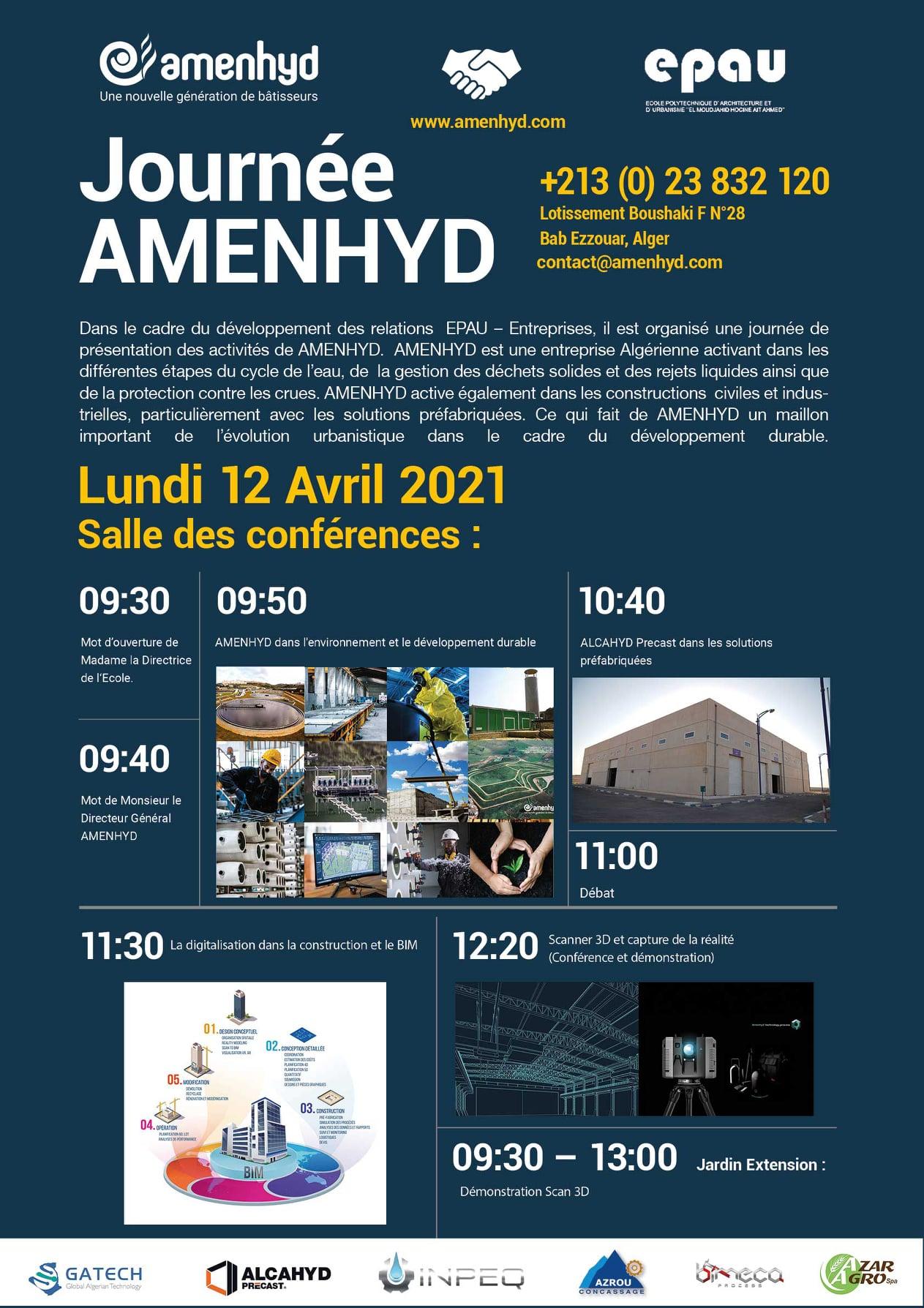 Journée de présentation d' AMENHYD le lundi 12 avril 2021