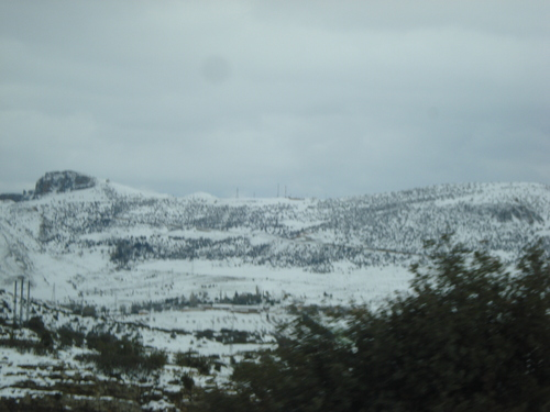 le mont de chélia couvert de neige.