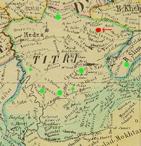 CARTE DES TRIBUS DU TITTERI - 1846