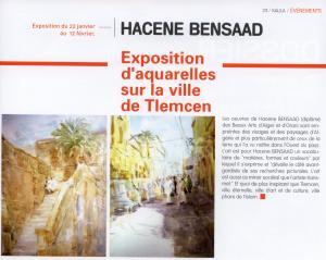 Exposition d'aquarelles sur la ville de Tlemcen de Hacene Bensaad