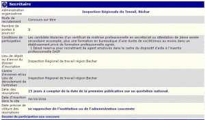 Inspection régionale du travail, Bechar recrute - Secretaire -