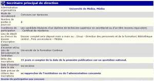 Université de Médéa recrute - secretaire principal de direction -