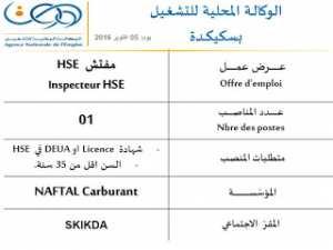 توظيف بمؤسسة نفطال ولاية سكيكدة أكتوبر 2016 - مفتش HSE -