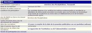 recrutement - Secretaire à la direction des moudjahidines wilaya de Tissemsilt
