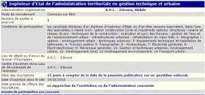 recrutement - ingenieur d'état de l'administration territoriale en gestion technique et urbaine APC Zitouna Wilaya de Skikda
