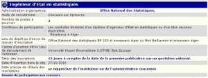 recrutement - ingenieur d'état en statistique à l'office national des statistiques Bab ezzouar Alger