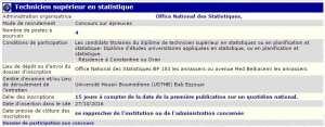 recrutement - technicien supérieur en statistique à l'office national des statistiques Bab ezzouar Alger