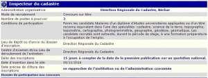 recrutement 05/11/2016 - inspecteur du cadastre à la direction regionale du cadastre, Bechar