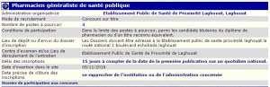 recrutement 05/11/2016 - pharmacien generaliste de la santé publique à l'epsp Laghouat