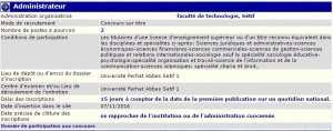 recrutement 07/11/2016 - administrateur à la faculté de technologie, Sétif