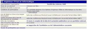 recrutement 07/11/2016 - ingenieur d'etat en informatique à la faculté des sciences, Sétif