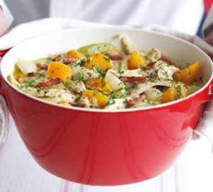 طريقة تحضير الدجاج والخردل مع الخضروات الشتوية