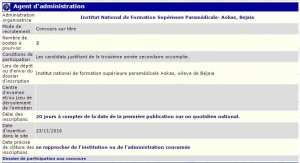 recrutement 23/11/2016 - agent d'administration à l'institut national de formation superieure paramedicale -Aokas - Bedjaia