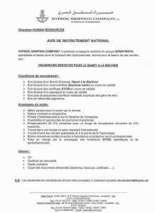 avis de recrutement national - graisseurs brevetés pour le quart à la machine - sonatrach