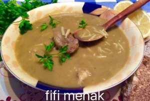 CHORBA DJELBANA YABSA BELAHM el ghenmi ( soupe aux petits pois cassés à la viande d'agneau )