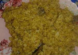 ارز الكركم بكبدة وقنصة الفراخ