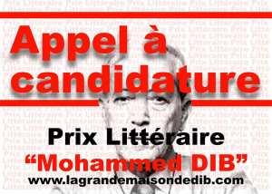 Avis d'appel à candidature : Grand Prix Littéraire Mohammed Dib