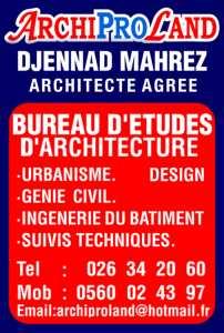 BUREAU D'ARCHITECTURE -ARCHIPROLAND- DJENNAD MAHREZ