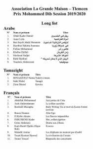 Prix Littéraire Mohammed-Dib 2020 (LONG LIST)