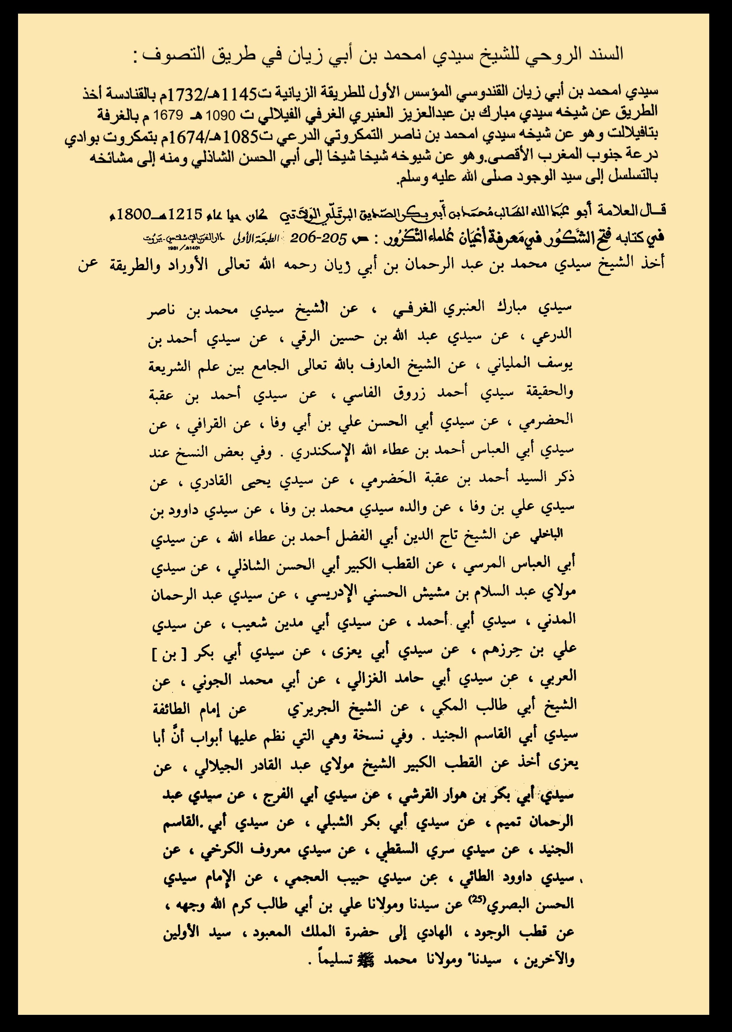 السنذ الروحي ( السلسلة الذهبية ) للشيخ سيدي امحمد ابن ابي زيان القندوسي الحسني
