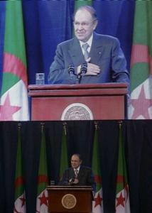 Algeria's President Abdelaziz Bouteflika gives a speech to commemorate