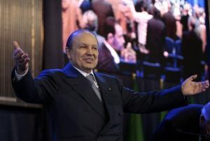 Algeria's President Abdelaziz Bouteflika greets supporters during his official