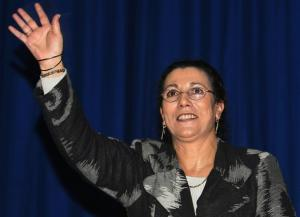President of Algeria's Workers Party (PT) Louia Hanoune waves to