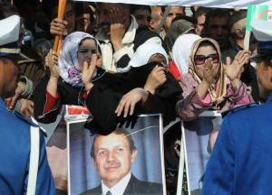 Algerian women supporting of President Abdelaziz Bouteflika celebrate during an