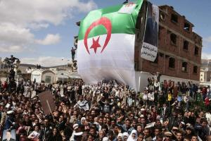 Supporters of Algeria's President and candidate in the forthcoming presidential