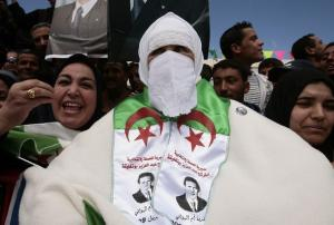 Supporters of Abdelaziz Bouteflika, Algeria's President and candidate in the