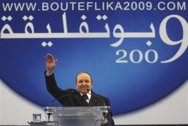 Algerian president Abdelaziz Bouteflika delivers a speech during an electoral
