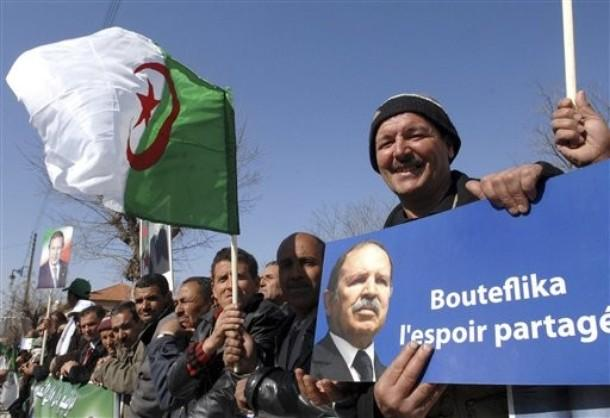 Supporters of Algerian president Abdelaziz Bouteflika gather in Batna, eastern