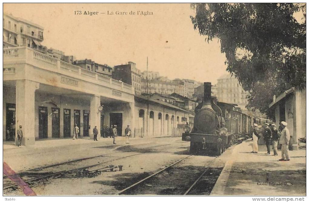 ALGERIE - ALGER -LA GARE DE L'AGHA - TRAIN - CHEMIN DE FER