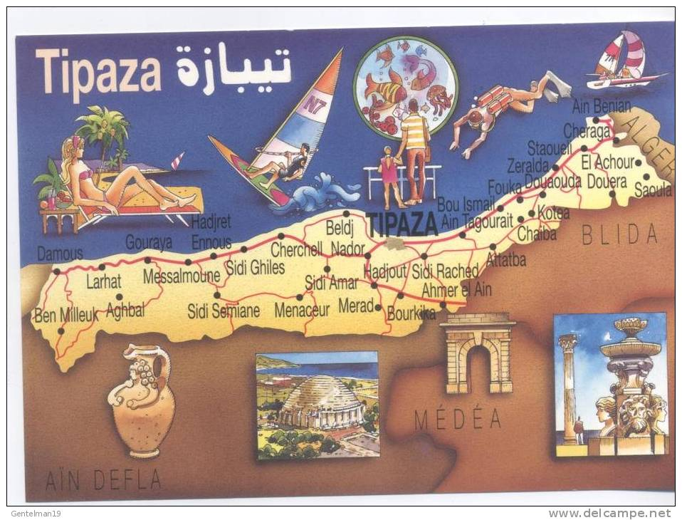 Carte Algerie Tipaza.Carte Postale Geografique Algerie La Ville De Tipaza