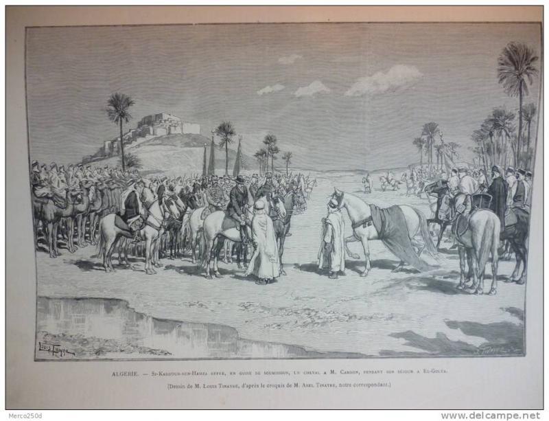 Alg�rie, Si Kaddour Ben Hamza offre en guise de soumission un cheval a Cambon a El Gol�a gravure dessin des Tinayre 1892