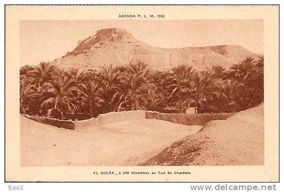 ALGERIE - EL GOLEA carte agenda PLM 1930