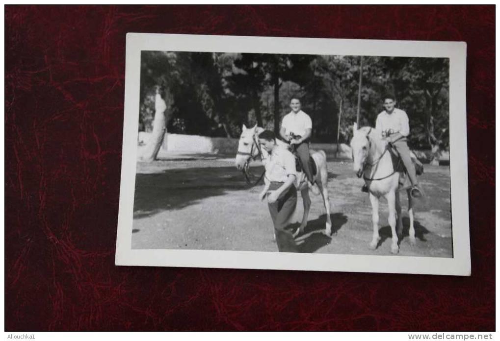 MILIANA 09-10-1950 - POPOL GERARD ET MOI A CHEVAL ANCIENNE PHOTOGRAPHIE ALGERIE EX COLONIE FRANCAISE