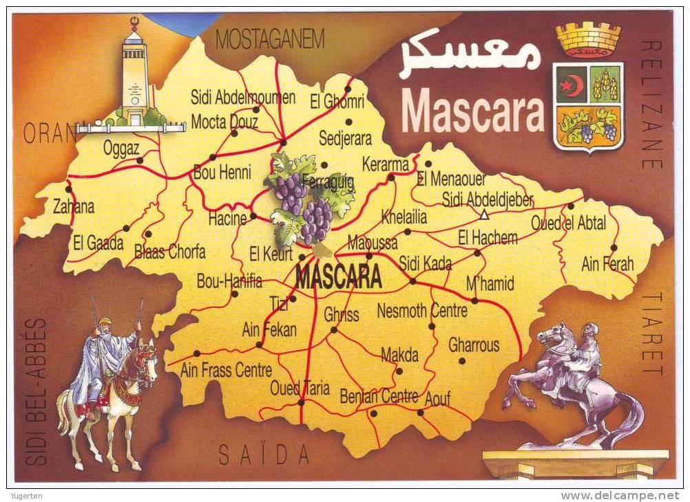 Carte Geographique De Lalgerie.Algerie Mascara Cp Carte Geographique Tourisme Neuve Mint