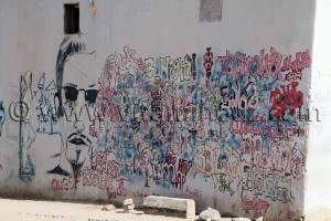 Grafittis sur un mur à Tamanrasset