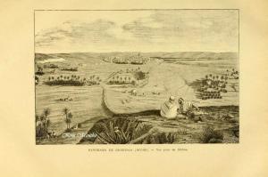 Vieux livre relatant l\'Algérie Panorama de Ghardaia (vue prise de Melika)
