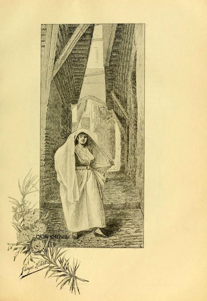 Femme en Hayek d\'Alger, Vieux livre relatant l\'Alg�rie