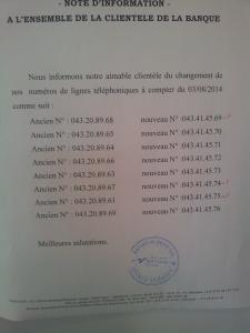 Nouveaux num�ros de t�l�phone de Natixis Tlemcen