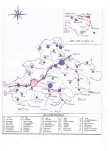 خريطة تبين بلديات ولاية غليزان