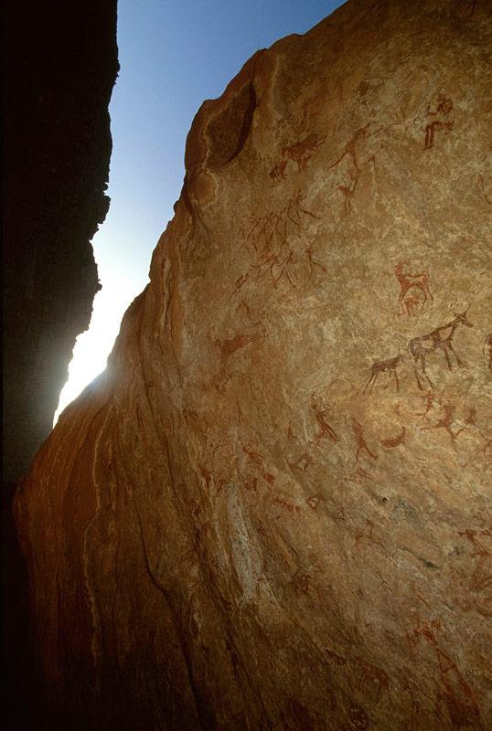 Oued Djerat, Alg�rie. Vue oblique de panneau peint � Oued Djerat. Remarque roue de char et d\'autres images de fond.