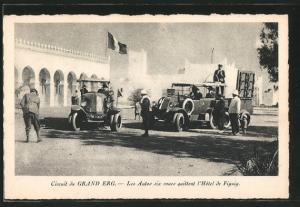 Circuit du Gran erg, Les Autos des six roues quittent l\'hotel de Figuig